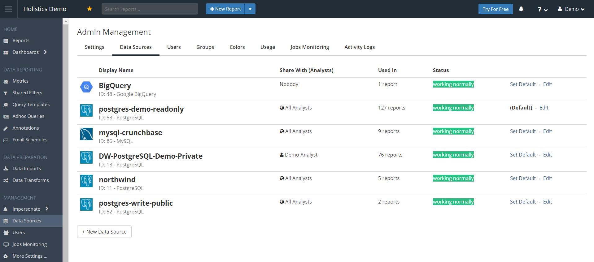 Data sources menu