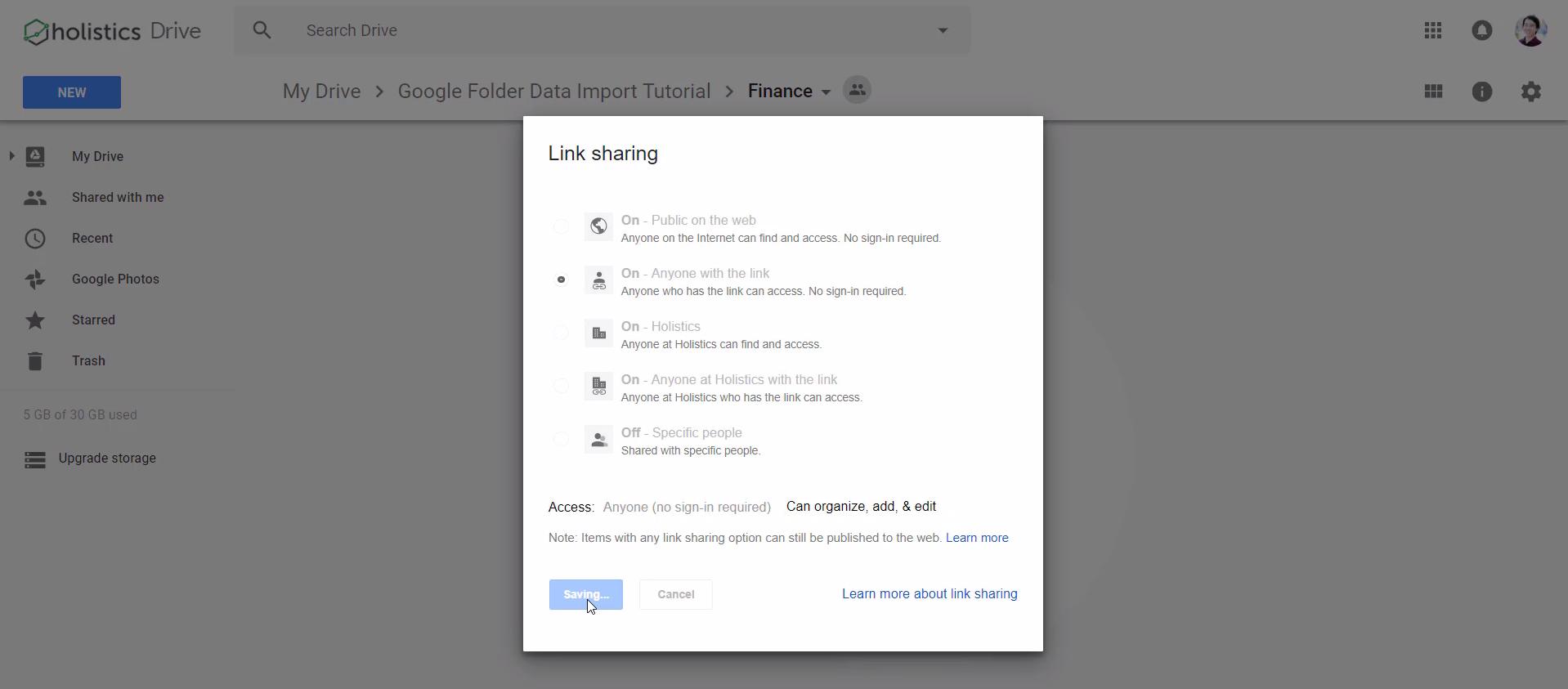 Folder share link