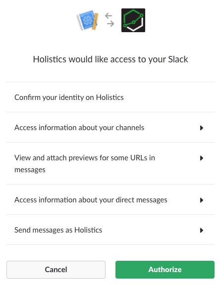 Holistics Slack integration authorization