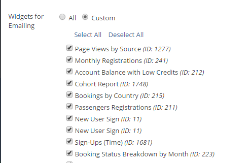 Selecting Dashboard Widgets to be emailed