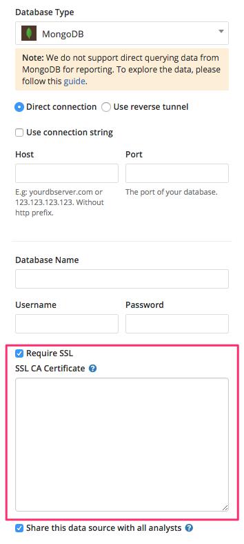Connect your MongoDB server to Holistics with SSL
