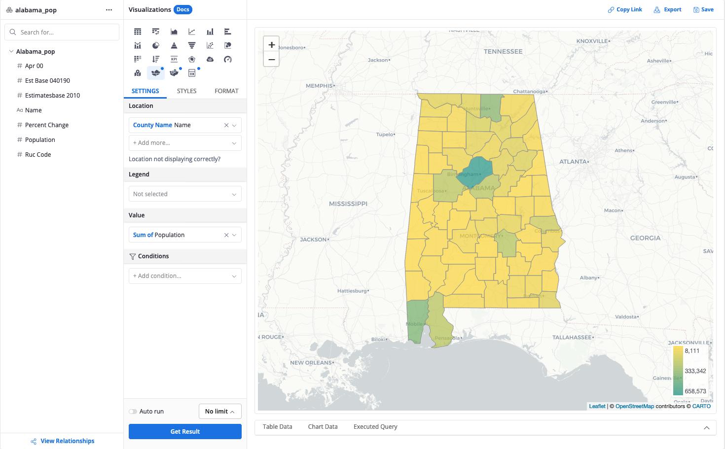 Custom map of Alabama counties' population