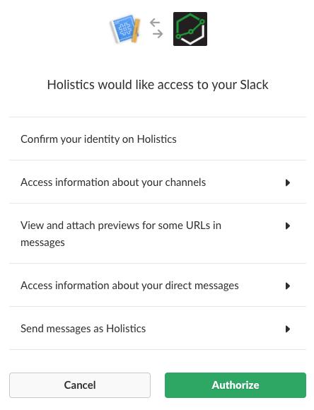 Holistics Slack integration authorization