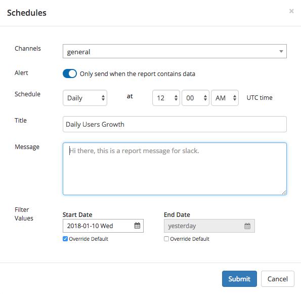 Schedule Holistics reports to Slack